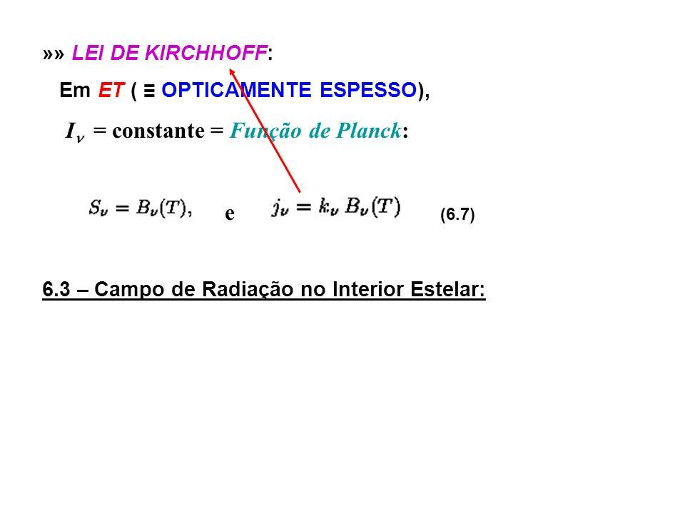 »» LEI DE KIRCHHOFF: Em ET ( OPTICAMENTE ESPESSO), I = constante = Função de Planck: e (6.7) 6.3 – Campo de Radiação no Interior Estelar: