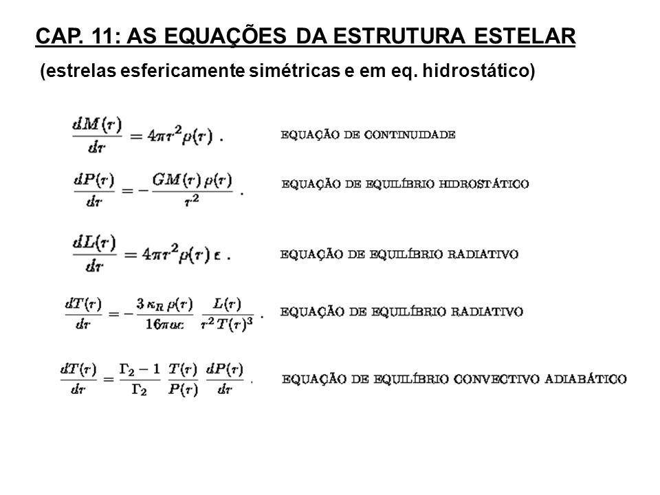 CAP. 11: AS EQUAÇÕES DA ESTRUTURA ESTELAR (estrelas esfericamente simétricas e em eq. hidrostático)