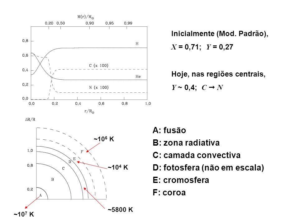 Inicialmente (Mod. Padrão), X = 0,71; Y = 0,27 Hoje, nas regiões centrais, Y ~ 0,4; C N A: fusão B: zona radiativa C: camada convectiva D: fotosfera (