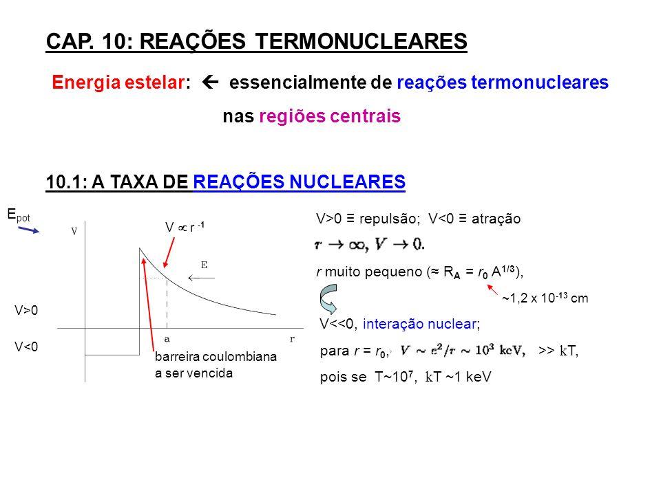 CAP. 10: REAÇÕES TERMONUCLEARES Energia estelar: essencialmente de reações termonucleares nas regiões centrais 10.1: A TAXA DE REAÇÕES NUCLEARES E pot