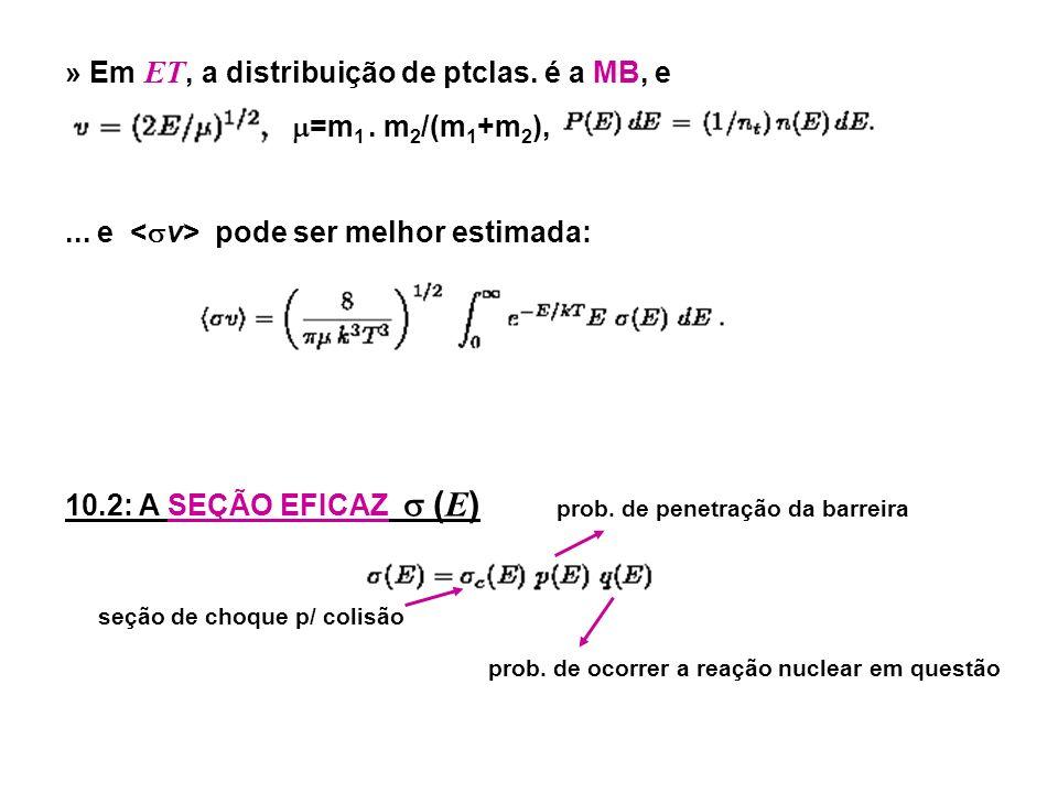 » Em E T, a distribuição de ptclas. é a MB, e =m 1.