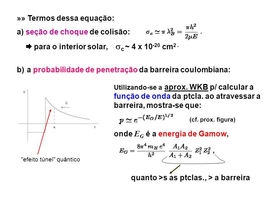 Sol: p ~ 2 x 10 -9 p/ p + com ~ k T c) a probabilidade de ocorrer a reação nuclear em questão: (isto é, no caso, a de fusão de p + em 4 He) obviamente, q <1; Com os valores fornecidos em a) e b), ~ 10-11 q barns << g (E) 12 C + p + 13 N +