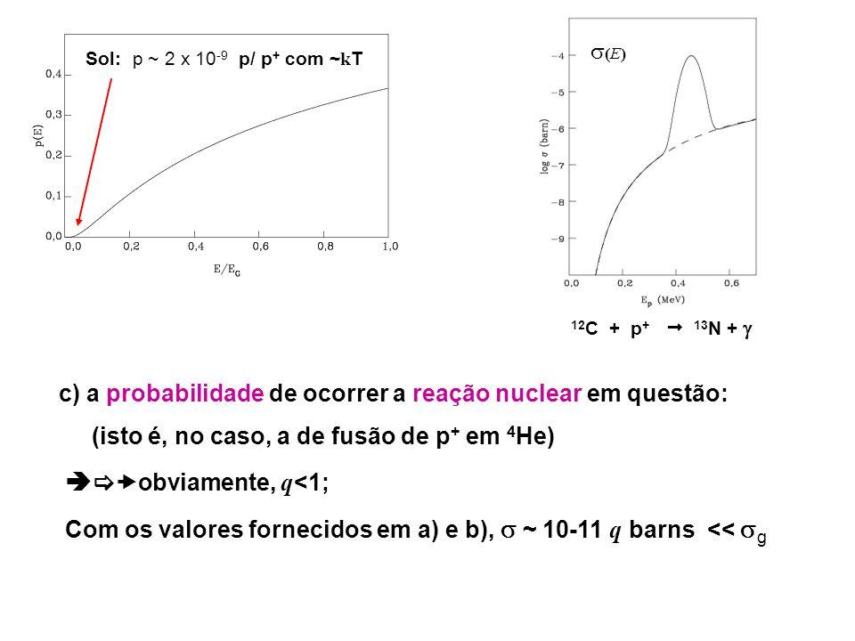 10.3: TAXAS DE REAÇÕES NUCLEARES SEM RESSONÂNCIA: e - = 3 E 0 / k T E / E 0 = 4ln2 1/2 / 1/2..........
