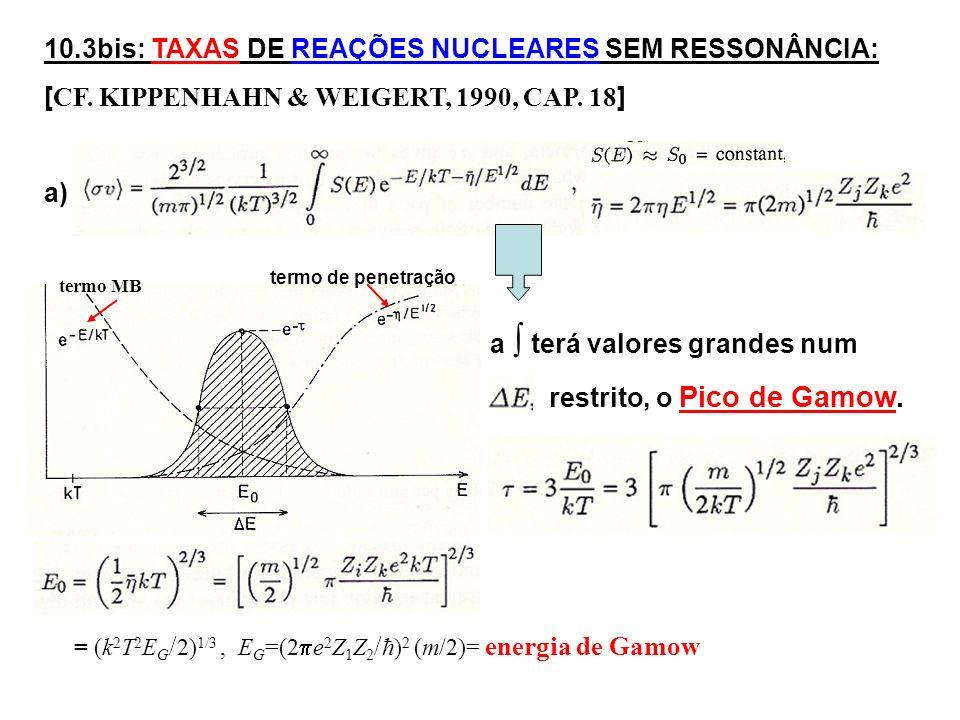 10.3bis: TAXAS DE REAÇÕES NUCLEARES SEM RESSONÂNCIA: [ CF.