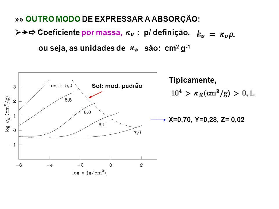 »» OUTRO MODO DE EXPRESSAR A ABSORÇÃO: Coeficiente por massa, : p/ definição, ou seja, as unidades de são: cm 2 g -1 Tipicamente, X=0,70, Y=0,28, Z= 0