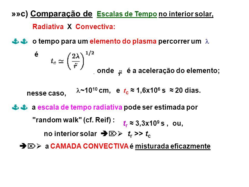 »»c) Comparação de Escalas de Tempo no interior solar, Radiativa X Convectiva: o tempo para um elemento do plasma percorrer um é, onde é a aceleração
