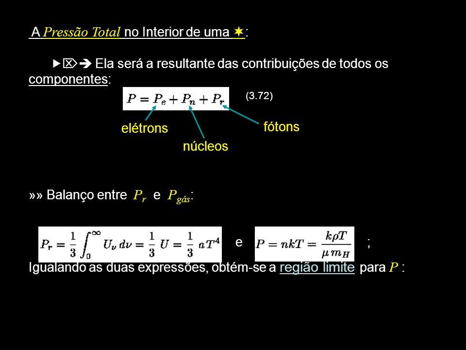 A Pressão Total no Interior de uma : Ela será a resultante das contribuições de todos os componentes: (3.72) elétrons núcleos »» Balanço entre P r e P