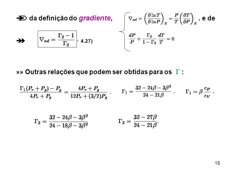 15 da definição do gradiente, e de (4.27) »» Outras relações que podem ser obtidas para os :