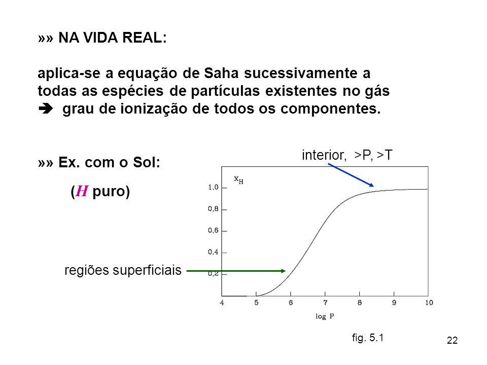 22 »» NA VIDA REAL: aplica-se a equação de Saha sucessivamente a todas as espécies de partículas existentes no gás grau de ionização de todos os compo