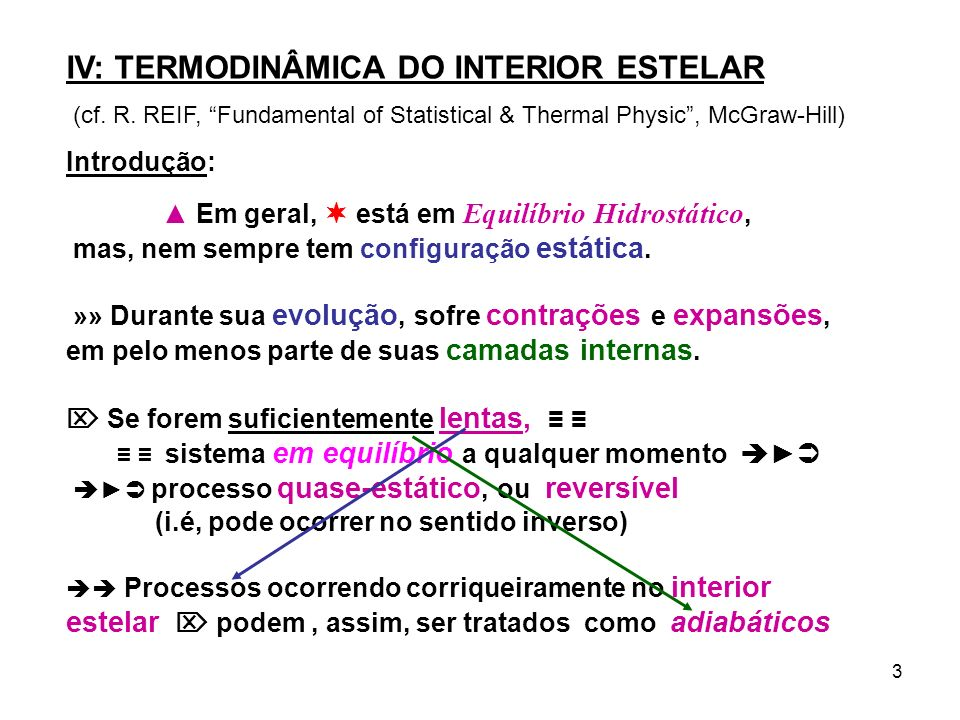 3 IV: TERMODINÂMICA DO INTERIOR ESTELAR (cf. R. REIF, Fundamental of Statistical & Thermal Physic, McGraw-Hill) Introdução: Em geral, está em Equilíbr