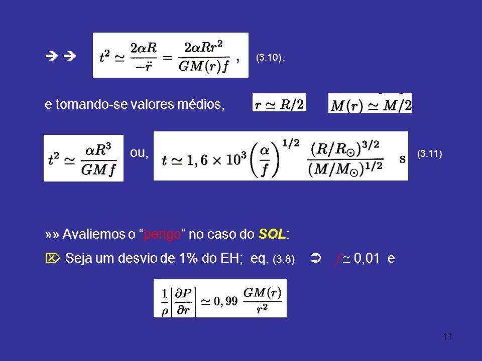 11 (3.10), e tomando-se valores médios, e, ou, (3.11) »» Avaliemos o perigo no caso do SOL: Seja um desvio de 1% do EH; eq. (3.8) f 0,01 e