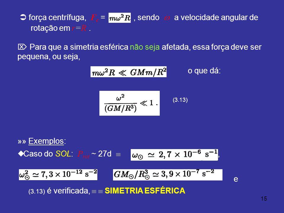 15 força centrífuga, F c =, sendo a velocidade angular de rotação em r=R. Para que a simetria esférica não seja afetada, essa força deve ser pequena,