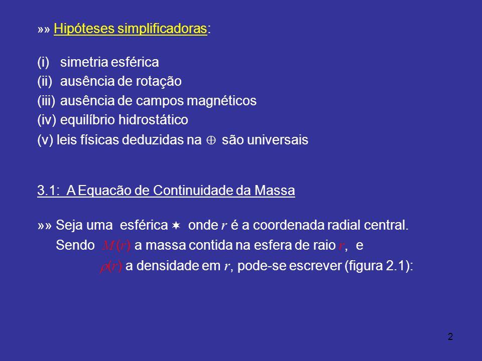 2 »» Hipóteses simplificadoras: (i) simetria esférica (ii) ausência de rotação (iii) ausência de campos magnéticos (iv) equilíbrio hidrostático (v)leis físicas deduzidas na são universais 3.1: A Equacão de Continuidade da Massa »» Seja uma esférica onde r é a coordenada radial central.