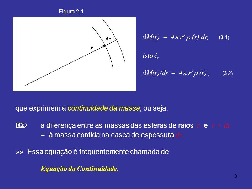 3 dM(r) = 4 r 2 (r) dr, (3.1) isto é, dM(r)/dr = 4 r 2 (r), (3.2) que exprimem a continuidade da massa, ou seja, a diferença entre as massas das esferas de raios r e r + dr = à massa contida na casca de espessura dr.