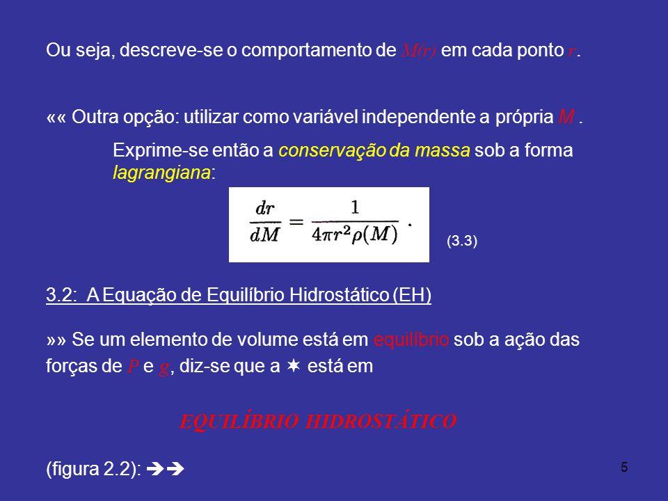 5 Ou seja, descreve-se o comportamento de M(r) em cada ponto r. «« Outra opção: utilizar como variável independente a própria M. Exprime-se então a co