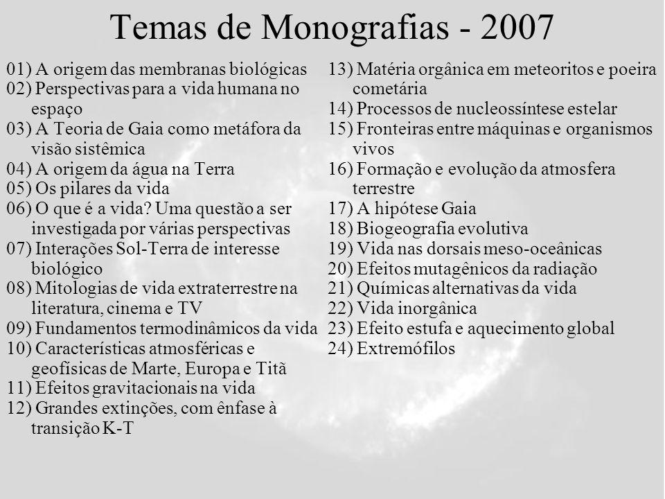 Temas de Monografias - 2007 01) A origem das membranas biológicas 02) Perspectivas para a vida humana no espaço 03) A Teoria de Gaia como metáfora da