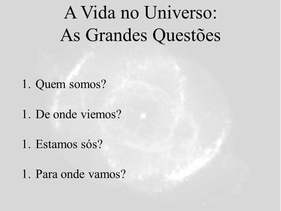 A Vida no Universo: As Grandes Questões 1.Quem somos? 1.De onde viemos? 1.Estamos sós? 1.Para onde vamos?