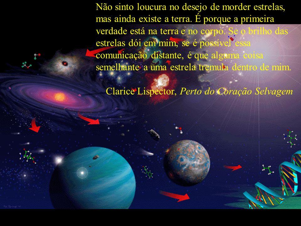 Não sinto loucura no desejo de morder estrelas, mas ainda existe a terra. É porque a primeira verdade está na terra e no corpo. Se o brilho das estrel