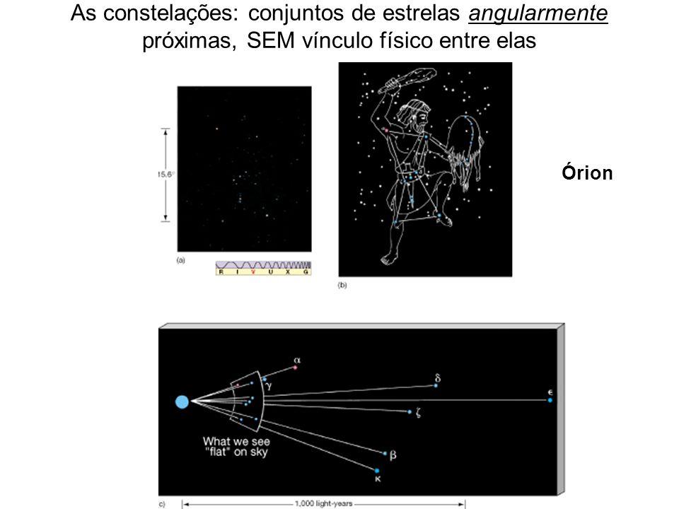 As constelações: conjuntos de estrelas angularmente próximas, SEM vínculo físico entre elas Órion