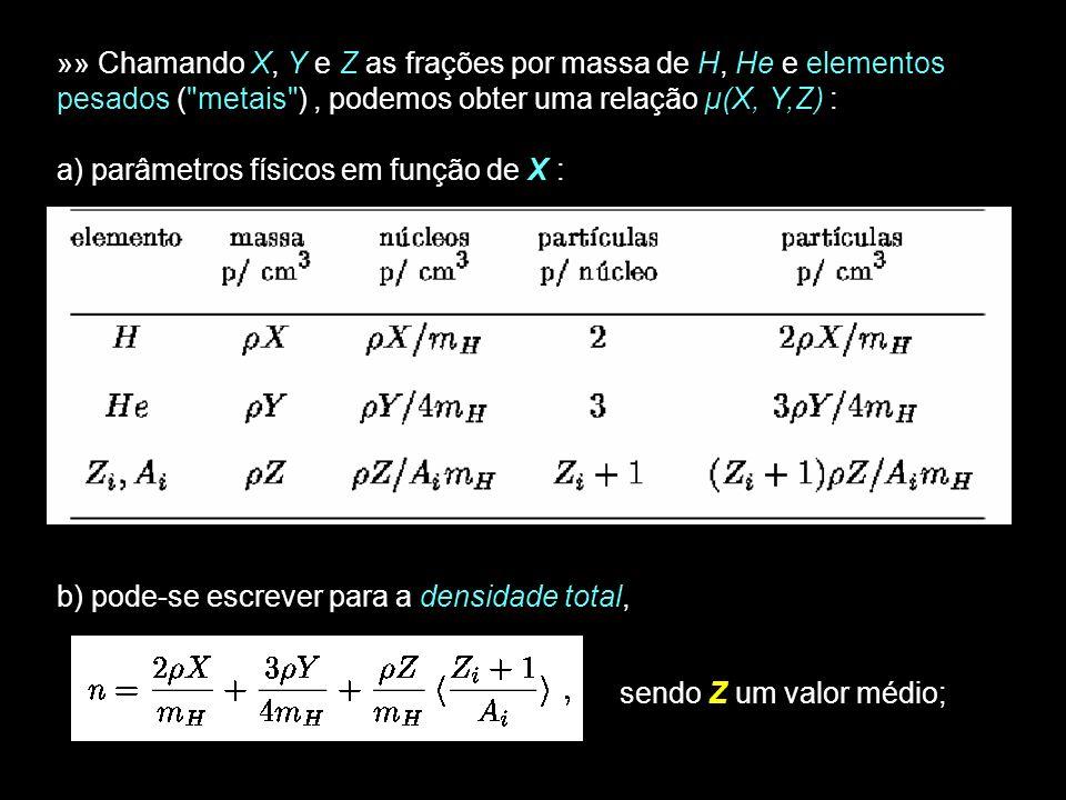 25 » Com, resulta (3.34) e sendo, (3.35) EXs.: H puro: µ = ½ ; He puro: µ = 4/3 ; metais puros: µ = 2; Gás totalmente ionizado: »»» Pode-se definir também um Peso Molecular relativo à m e µ