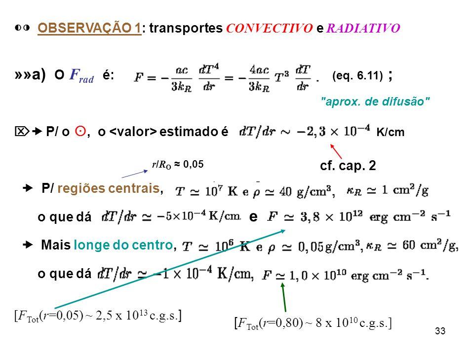 34 »»b) O F conv é: e o fluxo TOTAL no interior da estrela é para o, e o gradiente médio solar, e pode-se escrever: sendo Pode-se mostrar que para r/R 0.3, 10 -7, transporte é praticamente TOTALMENTE CONVECTIVO