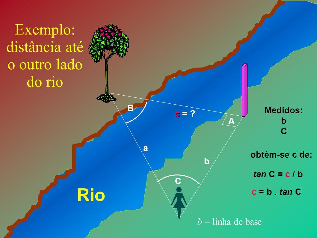 B A C b a c c = ? Exemplo: distância até o outro lado do rio Rio Medidos: b C tan C = c / b c = b. tan C obtém-se c de: b = linha de base