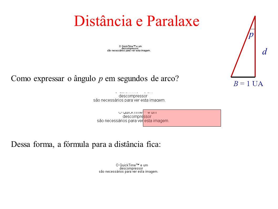 d B = 1 UA p Como expressar o ângulo p em segundos de arco? Dessa forma, a fórmula para a distância fica: Distância e Paralaxe
