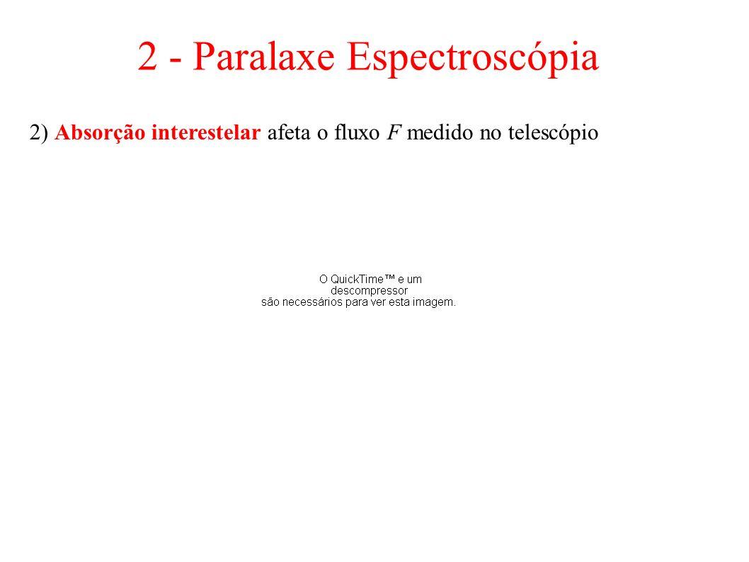 2) Absorção interestelar afeta o fluxo F medido no telescópio 2 - Paralaxe Espectroscópia