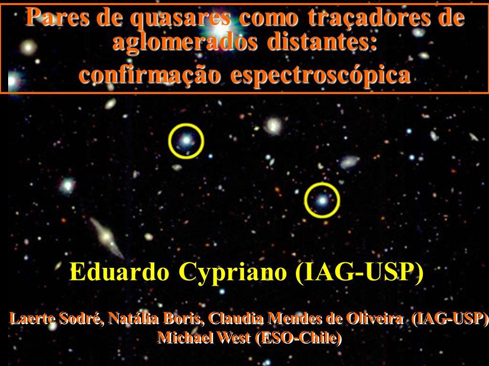 CL0100-0219: espectroscopia GMOS norte: Rede de difração:R400 Largura da fenda: 1.5 :5500-9700Å Modo: Nod & Shuffle Exposição:2.4 horas Alvos selecionados segundo o z phot 32 fendas ( 27 identificações de redshift) Cypriano et al.