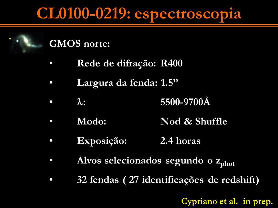 CL0100-0219: espectroscopia GMOS norte: Rede de difração:R400 Largura da fenda: 1.5 :5500-9700Å Modo: Nod & Shuffle Exposição:2.4 horas Alvos selecion