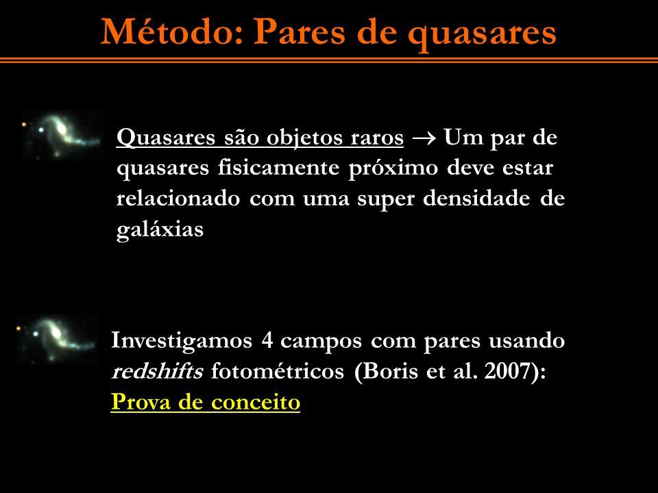 Método: Pares de quasares Quasares são objetos raros Um par de quasares fisicamente próximo deve estar relacionado com uma super densidade de galáxias