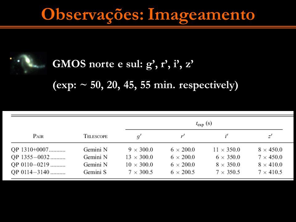 Observações: Imageamento GMOS norte e sul: g, r, i, z (exp: ~ 50, 20, 45, 55 min. respectively)