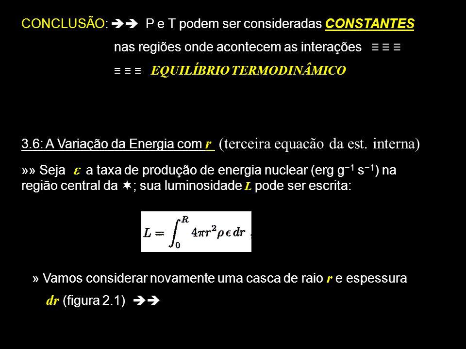 5 CONCLUSÃO: P e T podem ser consideradas CONSTANTES nas regiões onde acontecem as interações EQUILÍBRIO TERMODINÂMICO 3.6: A Variação da Energia com