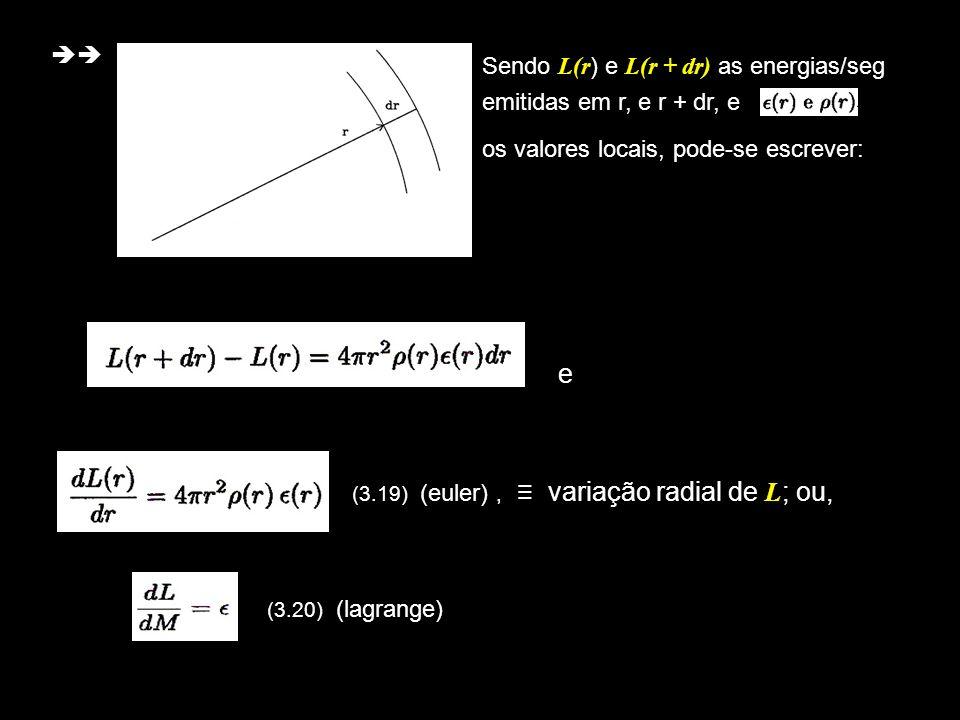6 e (3.19) (euler), variação radial de L ; ou, (3.20) (lagrange) Sendo L(r ) e L(r + dr) as energias/seg emitidas em r, e r + dr, e os valores locais,