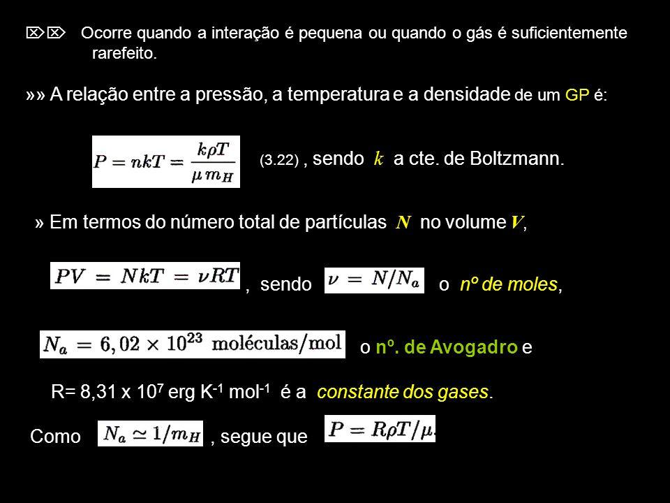 9 Ocorre quando a interação é pequena ou quando o gás é suficientemente rarefeito. »» A relação entre a pressão, a temperatura e a densidade de um GP