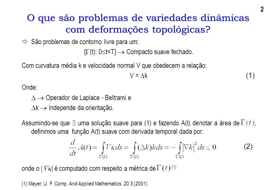 O que são problemas de variedades dinâmicas com deformações topológicas? São problemas de contorno livre para um: { (t): 0 t<T} Compacto suave fechado