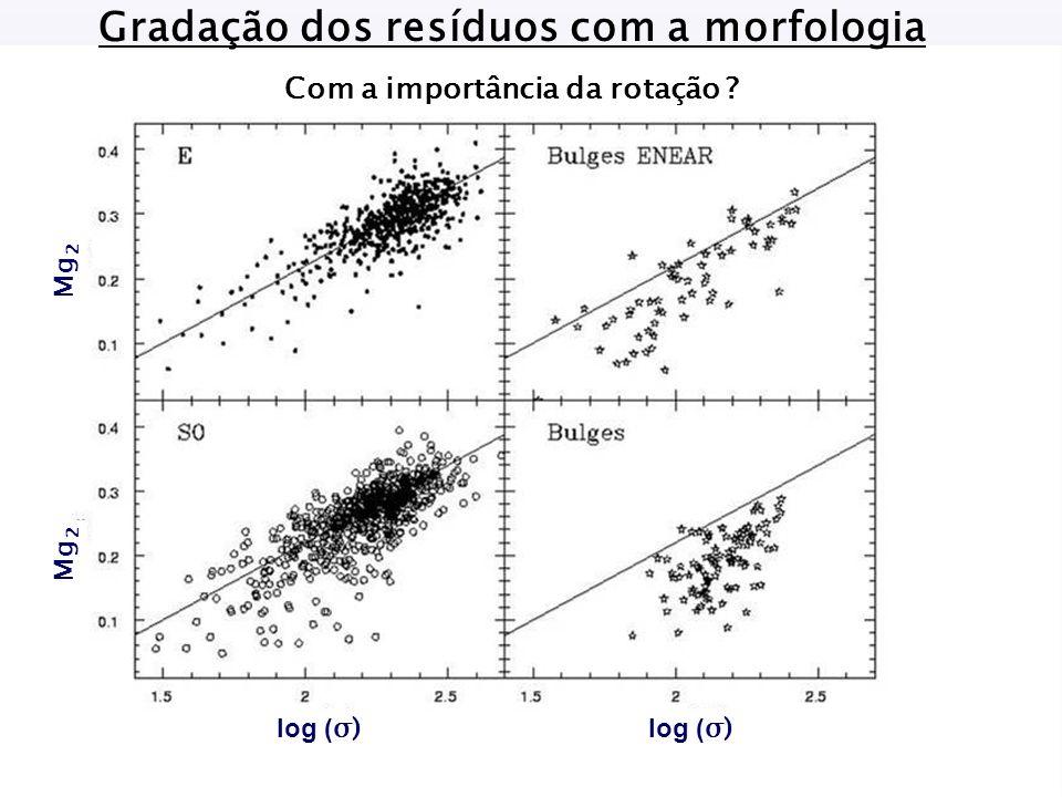 Gradação dos resíduos com a morfologia Com a importância da rotação Mg 2 log ( σ)
