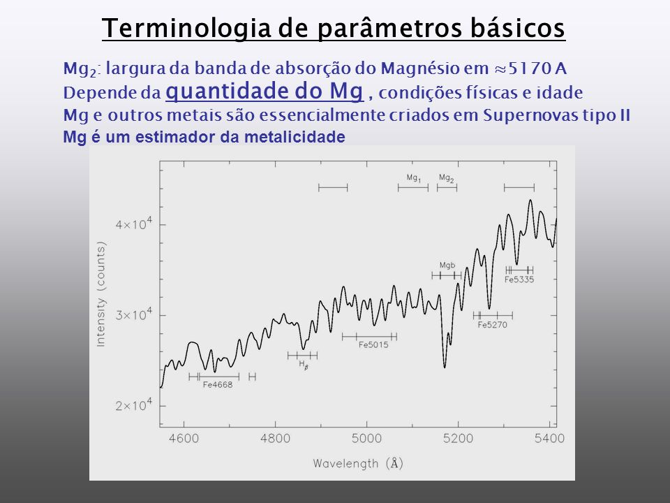 Terminologia de parâmetros básicos Mg 2 : largura da banda de absorção do Magnésio em 5170 A Depende da quantidade do Mg, condições físicas e idade Mg e outros metais são essencialmente criados em Supernovas tipo II Mg é um estimador da metalicidade