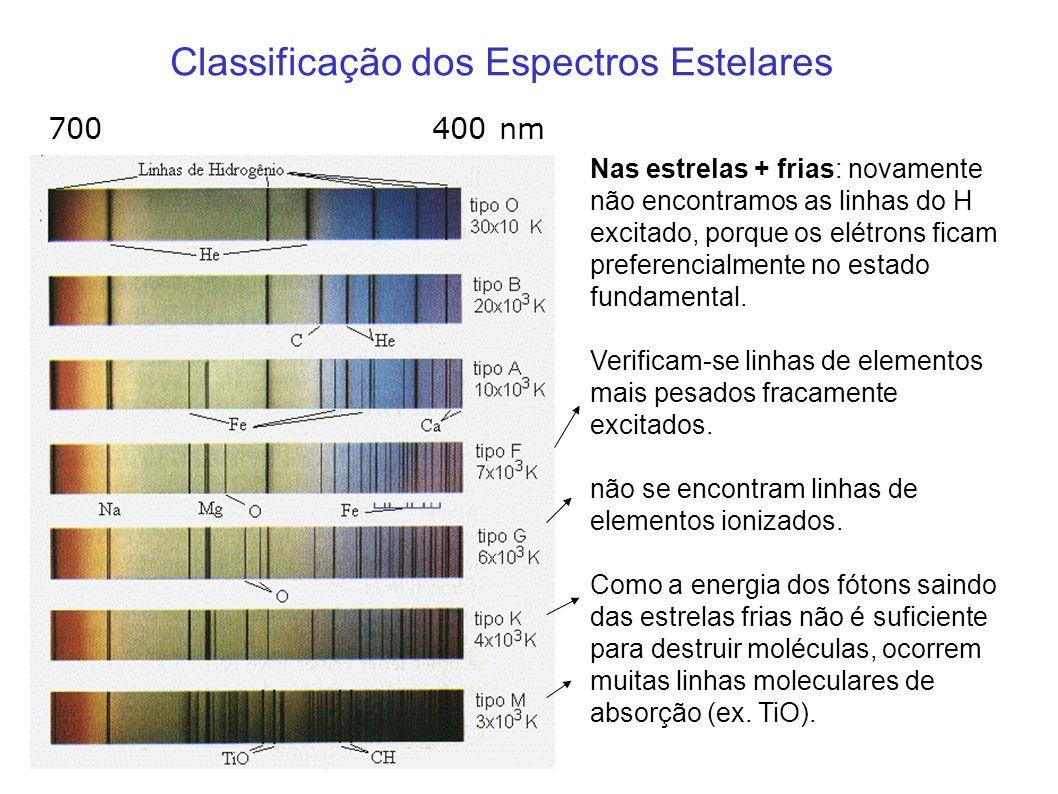 Classificação dos Espectros Estelares Nas estrelas + frias: novamente não encontramos as linhas do H excitado, porque os elétrons ficam preferencialme