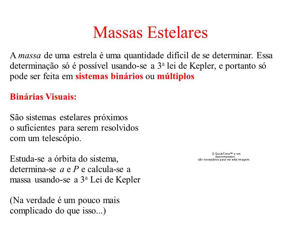 Massas Estelares A massa de uma estrela é uma quantidade difícil de se determinar. Essa determinação só é possível usando-se a 3 a lei de Kepler, e po
