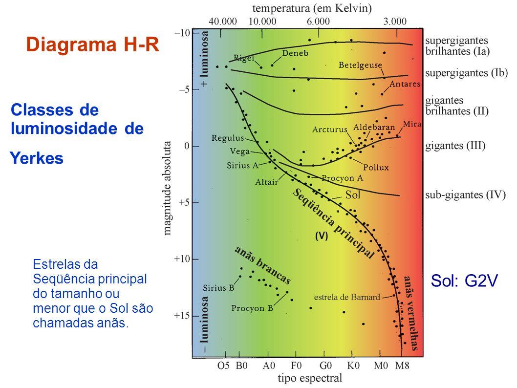 Diagrama H-R Classes de luminosidade de Yerkes Estrelas da Seqüência principal do tamanho ou menor que o Sol são chamadas anãs. (V) Sol: G2V