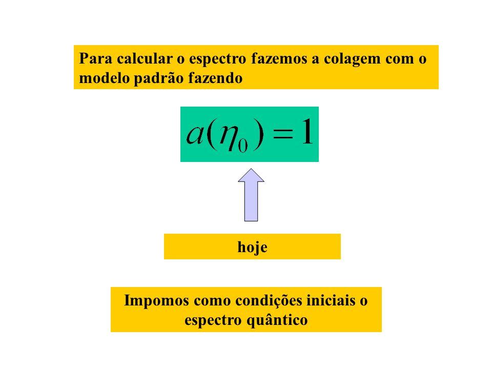 Para calcular o espectro fazemos a colagem com o modelo padrão fazendo hoje Impomos como condições iniciais o espectro quântico
