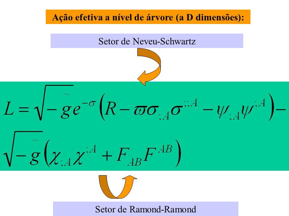 Ação efetiva a nível de árvore (a D dimensões): Setor de Neveu-Schwartz Setor de Ramond-Ramond
