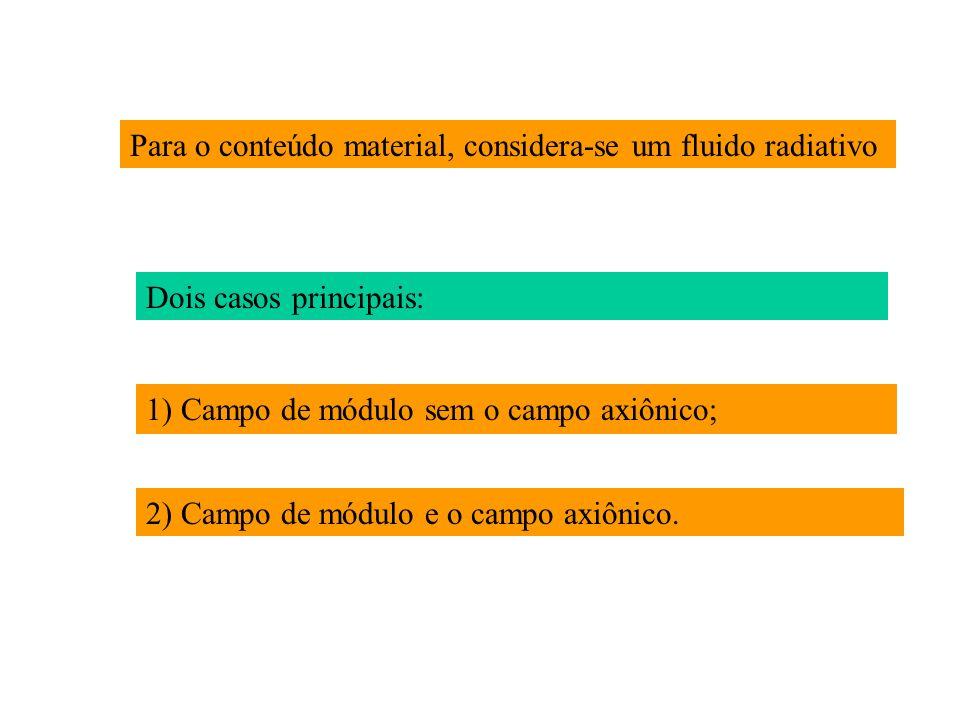 Para o conteúdo material, considera-se um fluido radiativo Dois casos principais: 1) Campo de módulo sem o campo axiônico; 2) Campo de módulo e o campo axiônico.