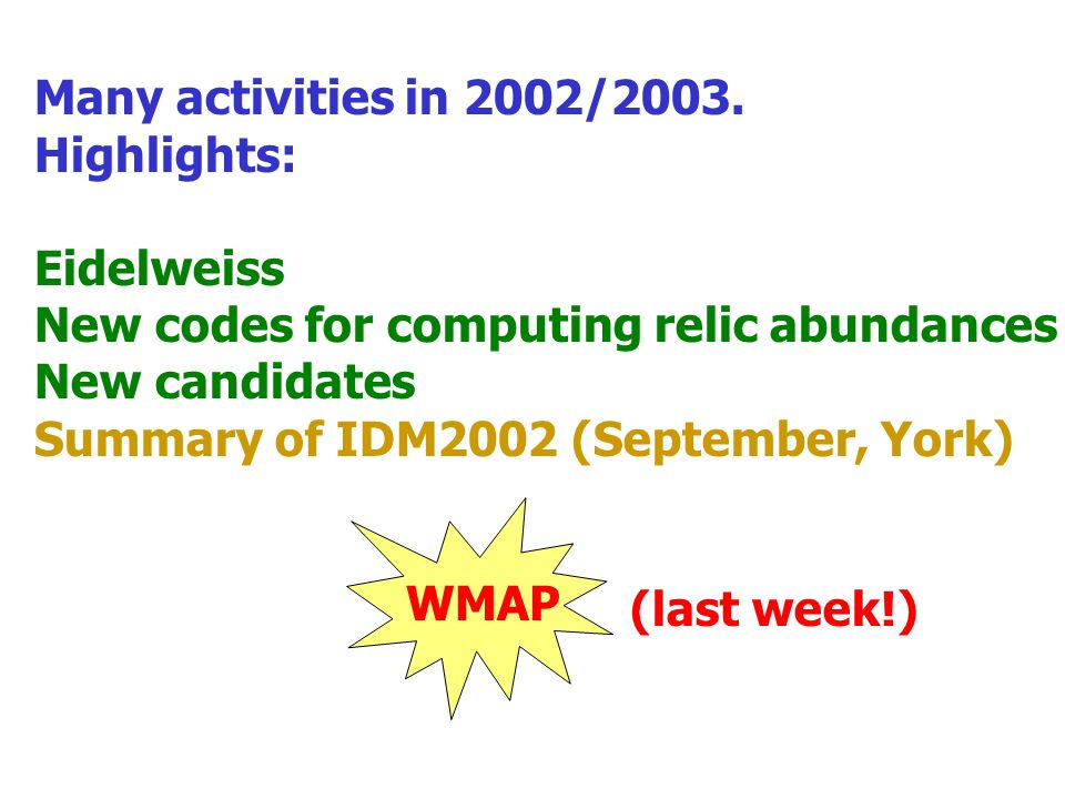 Many activities in 2002/2003.