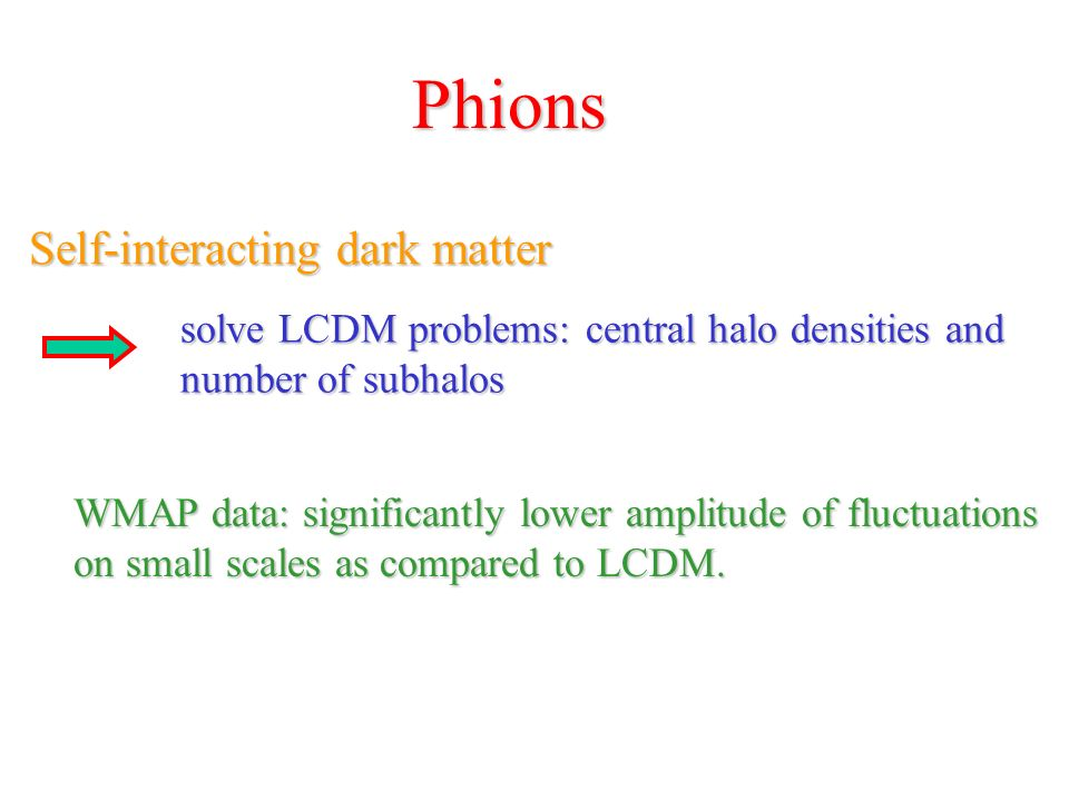 Phions Self-interacting dark matter solve LCDM problems: central halo densities and number of subhalos WMAP data: significantly lower amplitude of fluctuations on small scales as compared to LCDM.