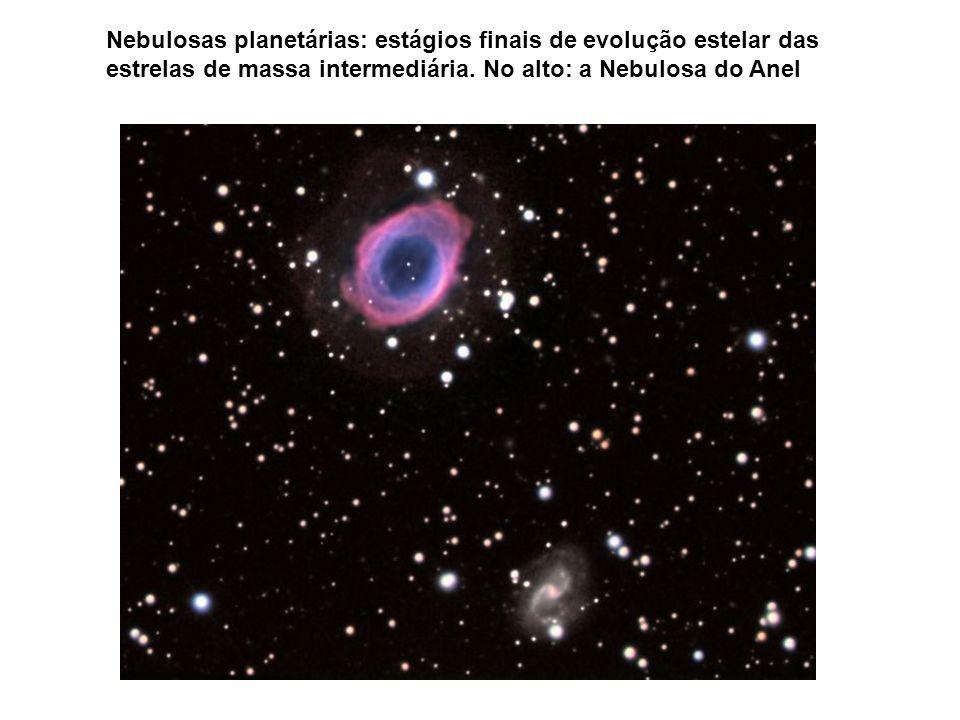 Nebulosas planetárias: estágios finais de evolução estelar das estrelas de massa intermediária. No alto: a Nebulosa do Anel
