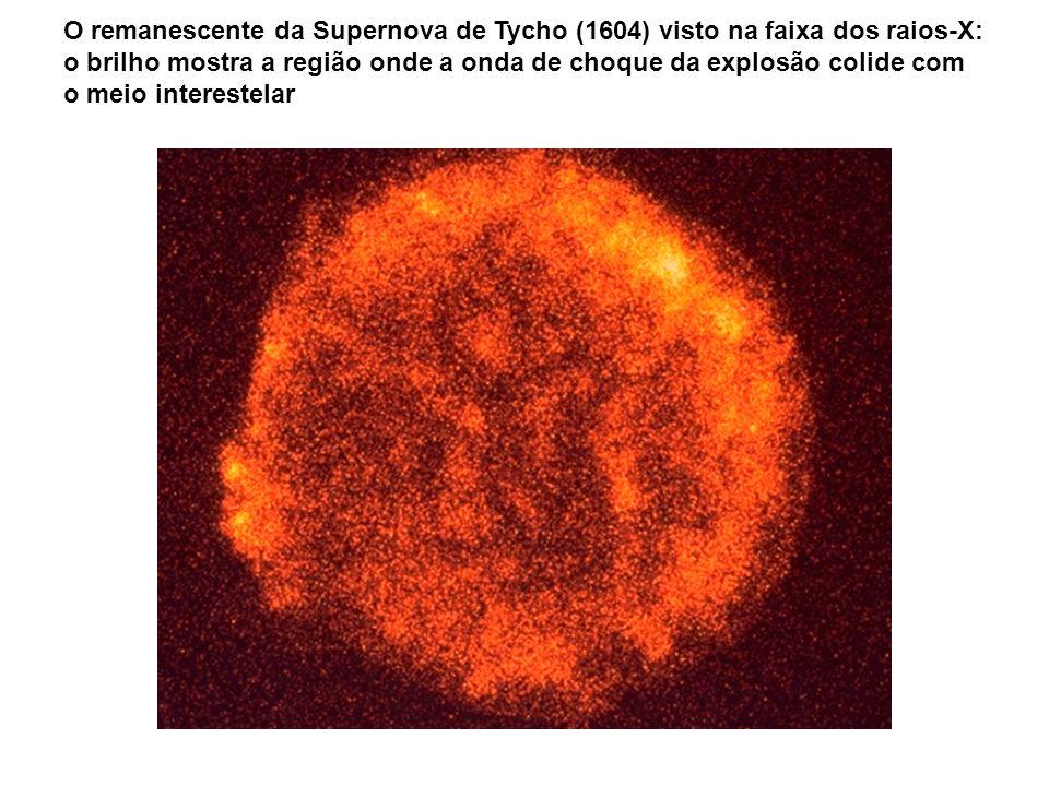 O remanescente da Supernova de Tycho (1604) visto na faixa dos raios-X: o brilho mostra a região onde a onda de choque da explosão colide com o meio i
