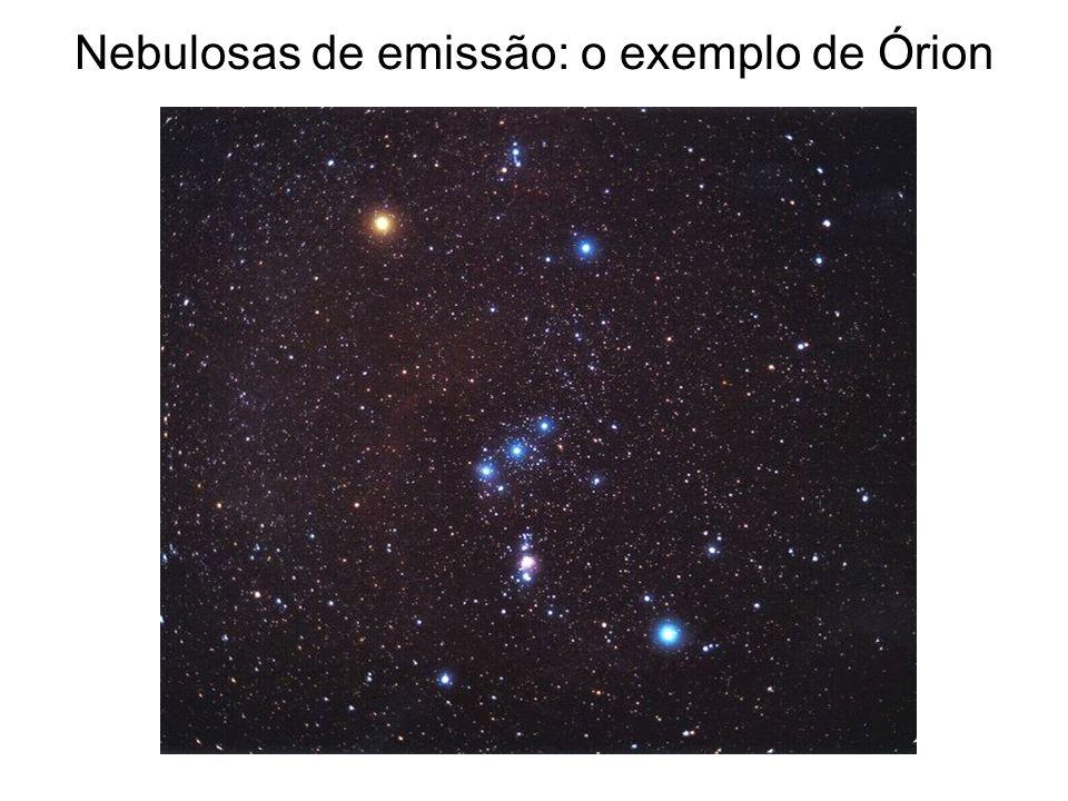 A região emissora de Órion, com a Nebulosa de Órion embaixo e a Cabeça do Cavalo no alto à esquerda