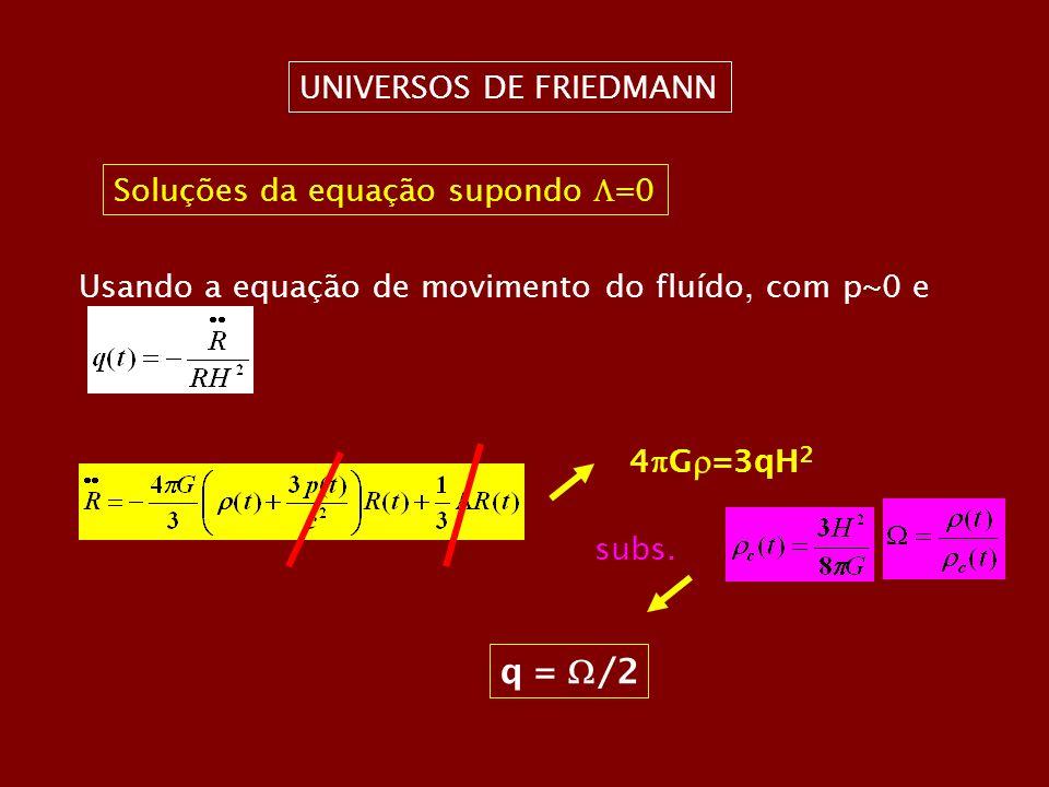 UNIVERSOS DE FRIEDMANN Soluções da equação supondo =0 Usando a equação de movimento do fluído, com p~0 e 4 G =3qH 2 subs. q = /2